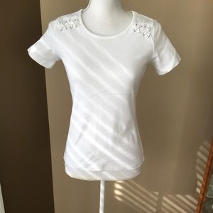 White Cotton Tee with Rope & Grommet Detail, Sz XS